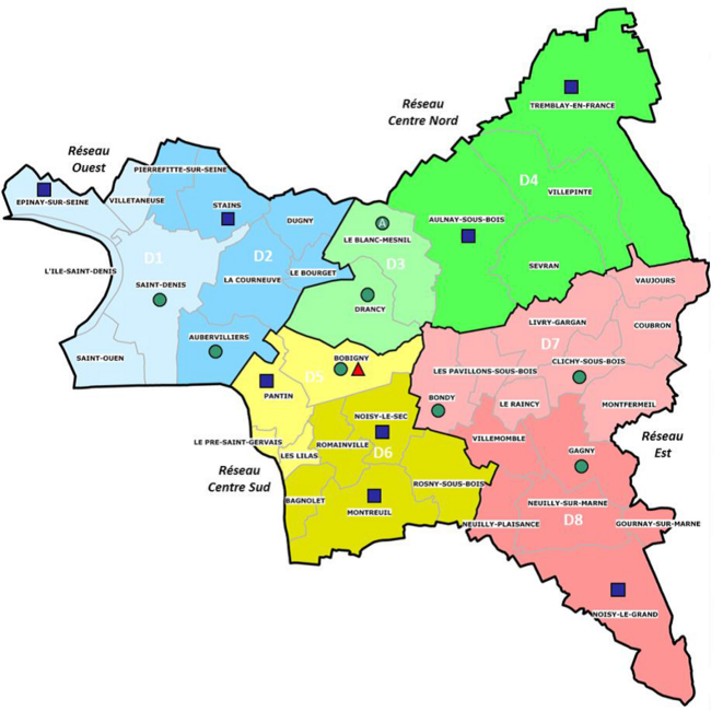 Carte des CIO. En bleu: CIO d'Etat; en vert: CIO départementaux
