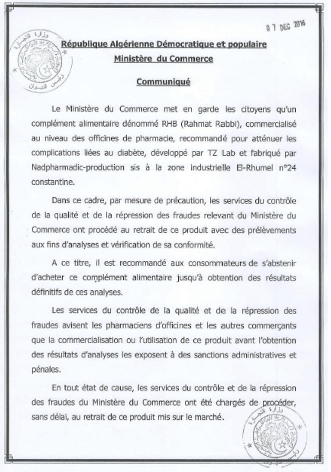 Le communiqué du ministère du Commerce.