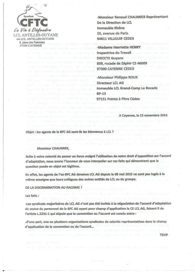 Le courrier du 15.11.2016 adressé à la Direction de LCL 1/2.
