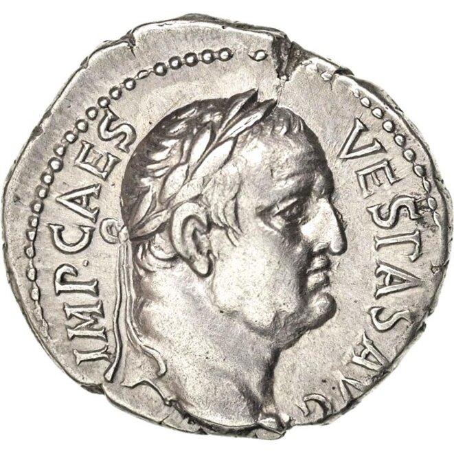 Denier à l'effigie de l'Empereur Romain Vespasien © Didier CODANI