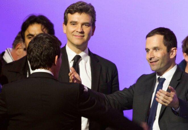 Montebourg, Hamon et Valls (de dos), le soir du 5 mai 2012, après la victoire de François Hollande à la présidentielle. © Reuters
