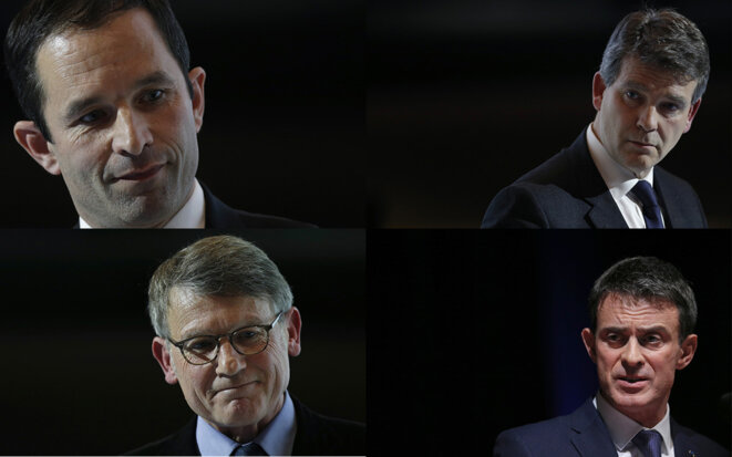 Clockwise, from top left: Benoît Hamon, Arnaud Montebourg, Manuel Valls and Vincent Peillon. © Reuters