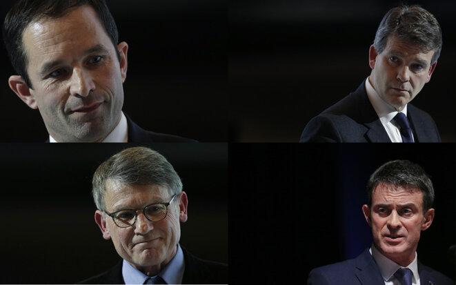 Hamon, Montebourg, Peillon et Valls. © Reuters