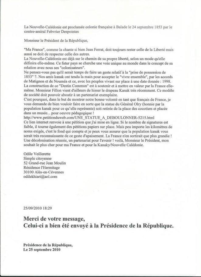 La lettre d'Odile Veillerette au Président de la République.