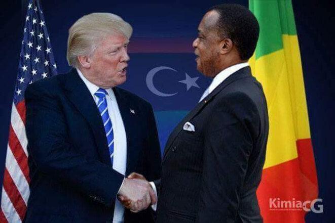Photo truquée par les Nguesso avant rencontre où le président Trump a 6 doigts sans le pouce. Le drapeau turc en toile de fond. La honte !