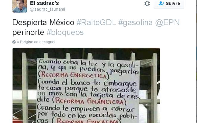 Pancarte contre les réformes structurelles menées par le gouvernement mexicain depuis 2012 © El sadrac's