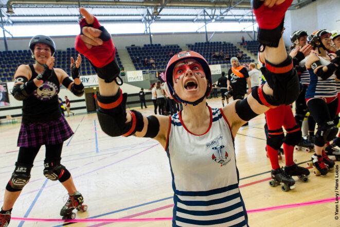 Denver, membre de Roller Derby Rennes le 21-04-2014 à Metz lors du F8. © Yann Levy / Hans Lucas