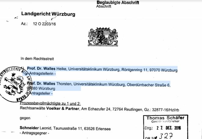 La décision du Tribunal régional de Bavière à Würzburg contre Leonid Schneider. © Leonid Schneider