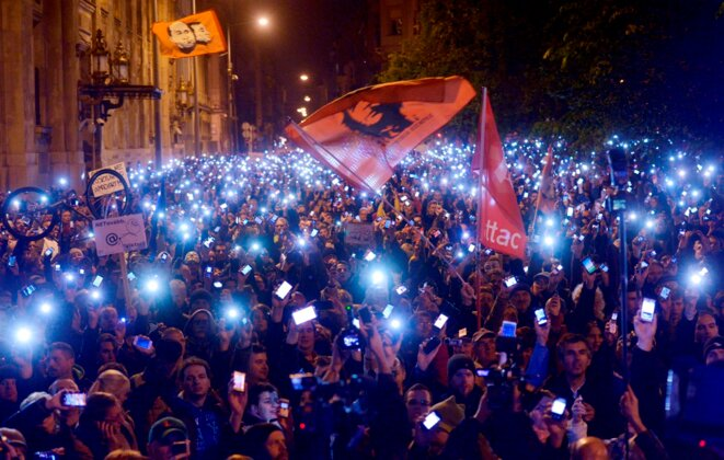 Manifestations contre la taxe Internet en 2014 © MTI
