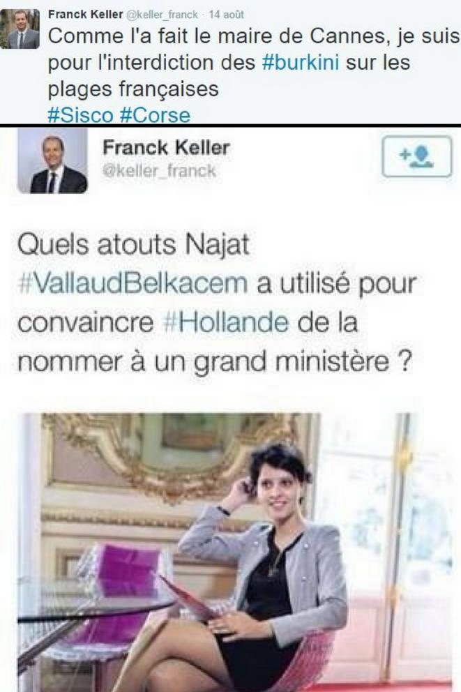 """Le conseiller municipal Franck Keller prône l'interdiction du burkini sur toutes les plages de France. Il y a deux ans, il  postait un tweet (effacé depuis) montrant Najat Vallaud Belkacem en robe, se demandant quels """"atouts"""" elle avait pu utiliser pour se faire nommer ministre de l'éducation"""