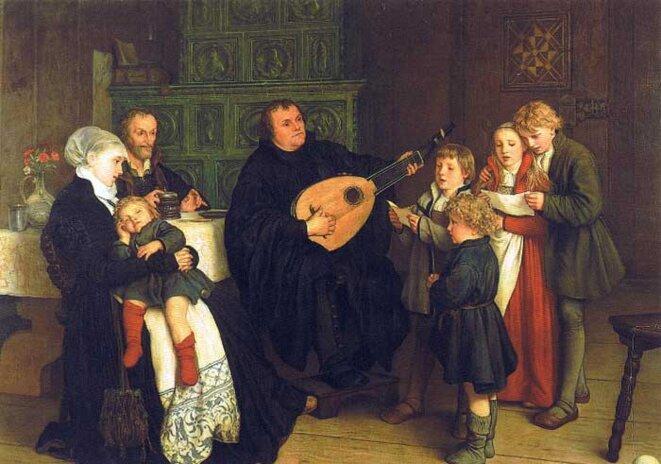 Martin Luther en famille par G.A. Spangenberg (1866) © Musée de Leipzig