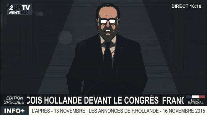 Illustration : François Hollande s'exprimant devant le Congrès, le 16 novembre 2015 © El Sueño films, tous droits réservés