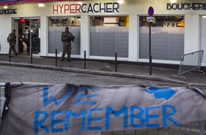 L'Hyper Cacher de la porte de Vincennes, un an après l'attentat, en janvier 2016. © Reuters