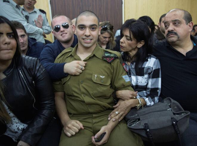 Elor Azaria attend son verdict dans l'enceinte du tribunal le 4 janvier 2017 © Reuters