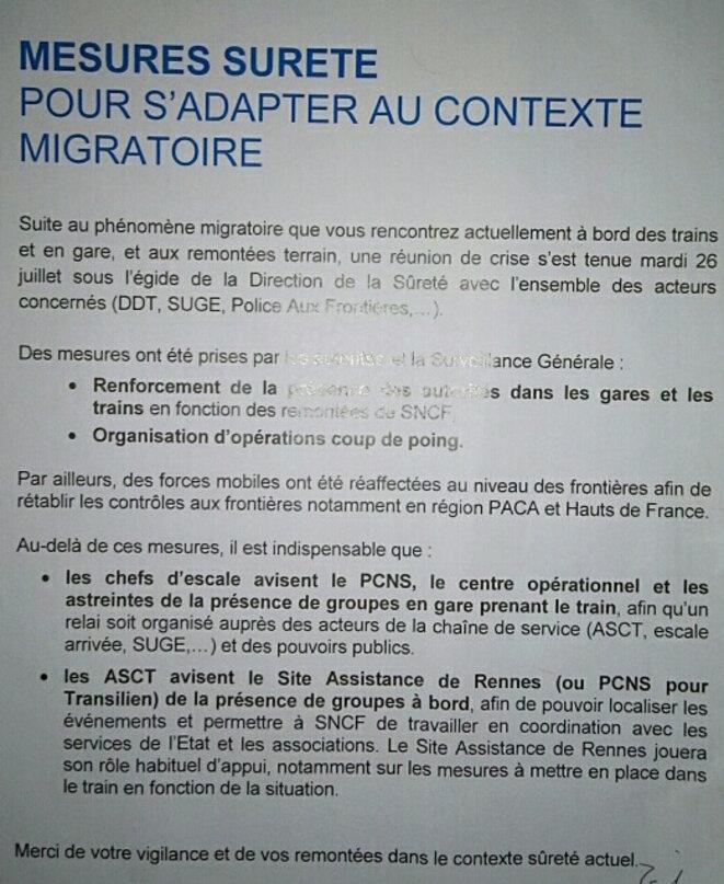 Note de service de la SNCF en région Paca © DR