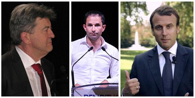 De gauche à droite, MM. Mélenchon, Hamon et Macron (montage d'images de Wikimedia commons)