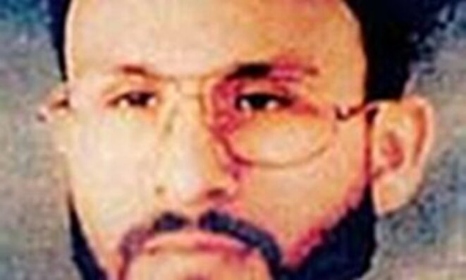 Abu Zubaydah, arrêté au Pakistan en 2002. Photo rendue publique par le US central command