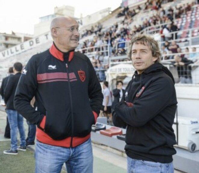 Bernard Laporte et Diego Dominguez à Toulon, en 2016.