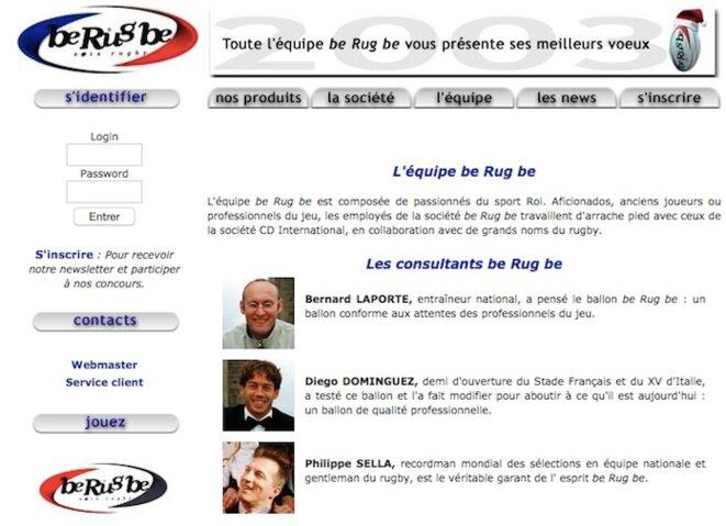 Capture d'écran dans les archives du site internet de Be Rug Be (aujourd'hui hors-ligne).