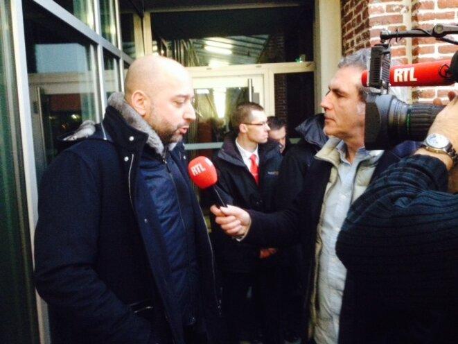 Gérard Lopez vendredi 13 décembre à Lille, en marge de la conférence de presse sur sa reprise du Losc. © Jacques Trentesaux / Mediacités
