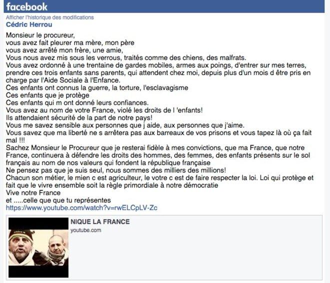 Message publié le 21 janvier par Cédric Herrou sur Facebook après sa sortie de garde à vue.