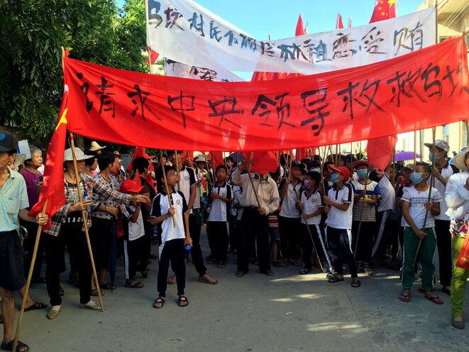 El 22 de junio de 2016 en Wukan, los vecinos se manifestaron para pedir la liberación de Lin Zulian. © Reuters