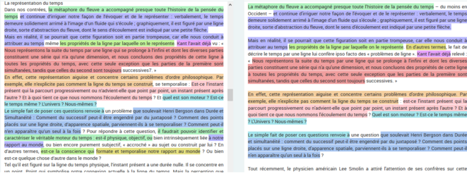 Figure 1. Comparaison entre les textes d'Etienne Klein