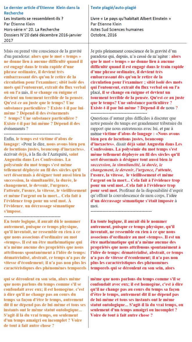 Les plagiats d'Etienne Klein