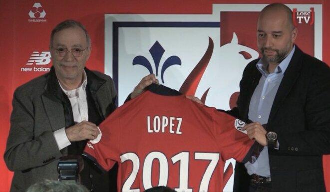 Michel Seydoux (à gauche) et Gérard Lopez lors de la conférence du 13 janvier officialisant la reprise du club, alors que le rachat n'était (et n'est toujours pas) bouclé. © Losc TV