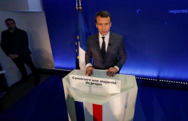 19 janvier.  Emmanuel Macron présente la stratégie d'En Marche pour les législatives depuis son Q.G. de campagne. © Reuters