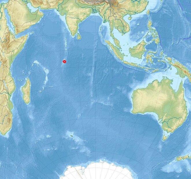 L'archipel des Chagos, au milieu de l'océan Indien © Wikipedia, creative commons
