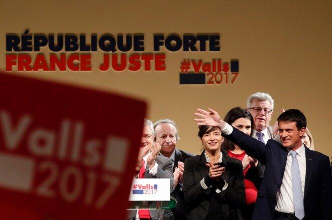 Jeudi 26 janvier, Manuel Valls clôt son dernier meeting de la campagne à Alfortville © Reuters