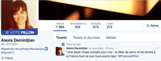 Le compte Twitter d'Alexia Dermirjdian.