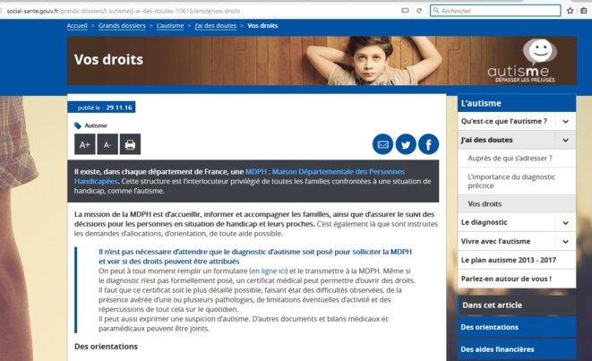 Page Droits site gouvernemental autisme