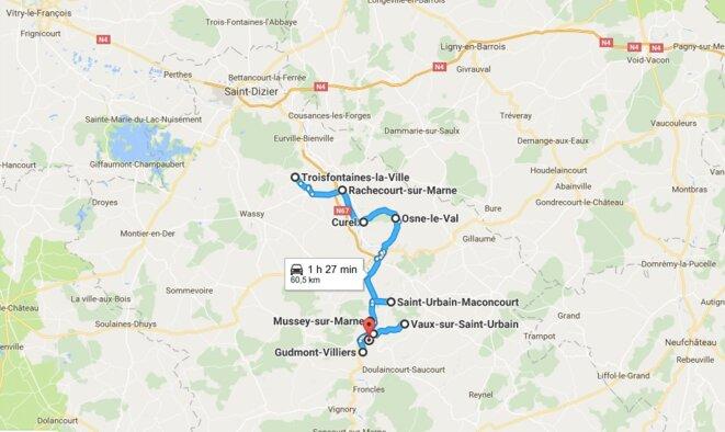 Plan d'action de la chasse aux parrainages en Haute-Marne © Google Maps
