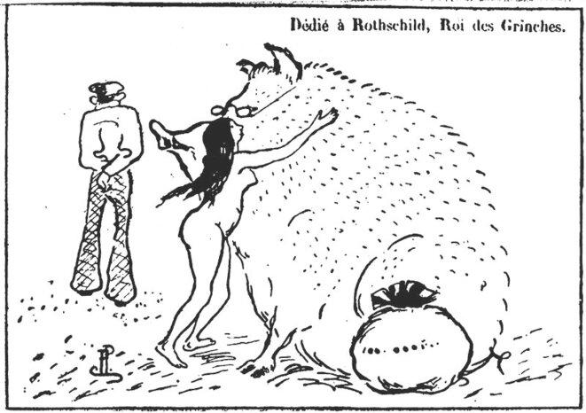 Le capital peloté par la nymphe des urnes (d'après le Père peinard, 1894)