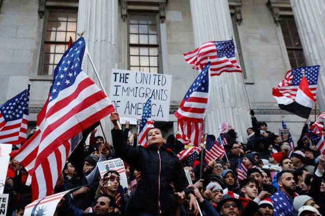 Manifestation d'opposition au décret anti-immigration à Brooklyn. © Reuters