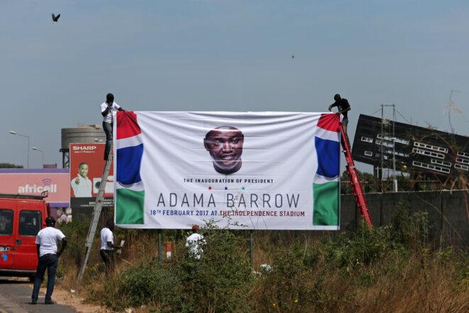 Le jour du retour d'Adama Barrow en Gambie. © Reuters