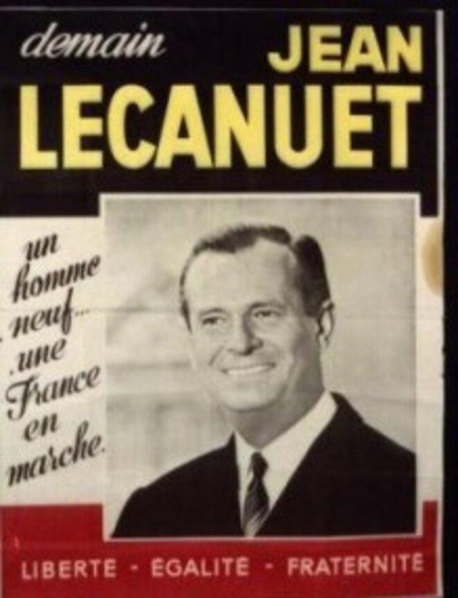 """Jean Lecanuet, le nouveau """"Kennedy"""" en marche, affiche de campagne, 1965"""