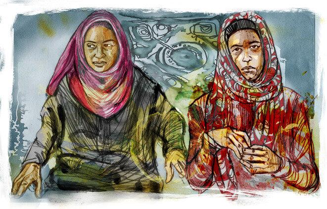 Fátima y su hija Nora, entrevistadas en septiembre de 2016 en Jordania, donde han encontrado refugio. © Ilustración © Damien Roudeau