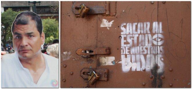 Correa et graffiti à Quito