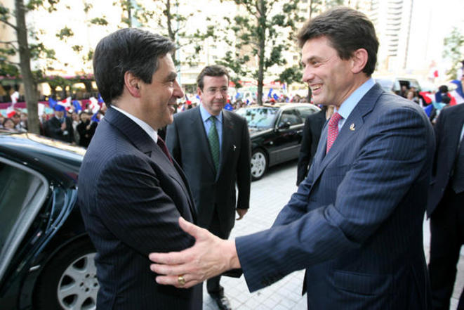 François Fillon (left) and his friend Henri de Castries, former CEO of AXA. © DR