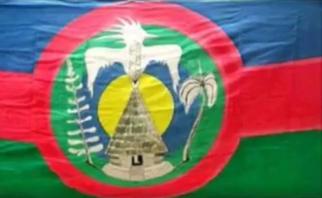 """Drapeau des nationalistes Kanak non inféodés à la loi qui protège et défend la colonialité du Pouvoir communément appelée """"Loi 1901""""."""