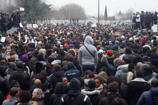 Manifestation devant le tribunal de Bobigny, le 11 février 2017 © AP