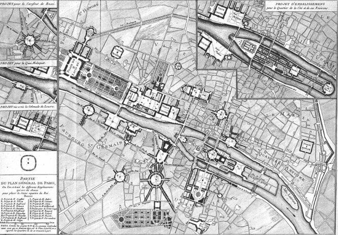 Pierre Patte, Plan général de Paris, avec divers emplacements proposés pour la statue du roi, 1765. Dans un des projets, l'île de la Cité a été réunie à l'île Saint-Louis.