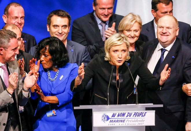 Marine Le Pen durante su discurso en Lyon, 5 de febrero de 2017. © Reuters