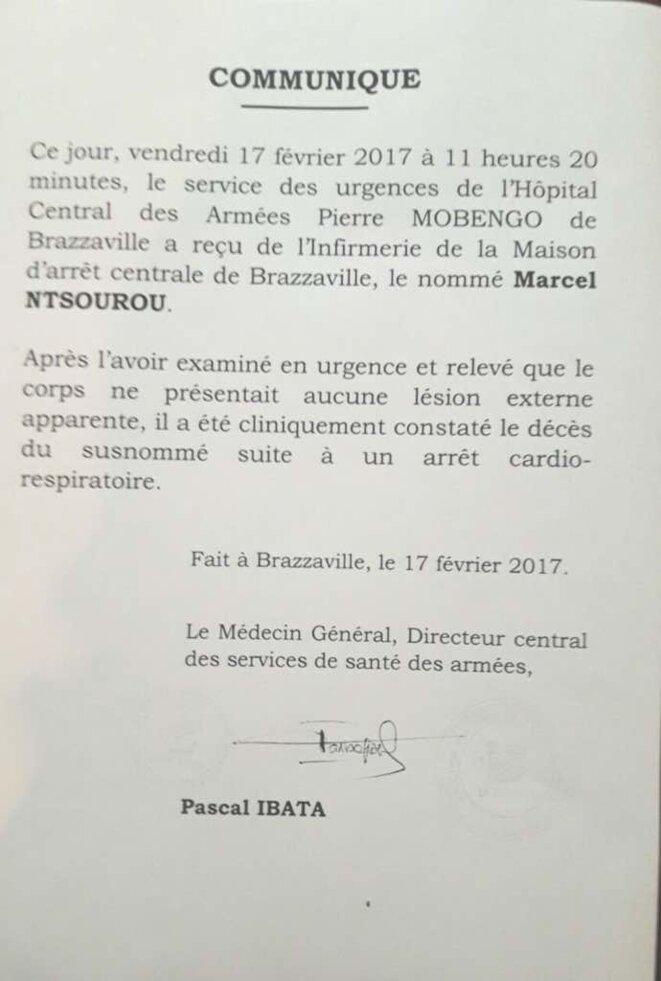 Communiqué décès de Marcel Ntsourou