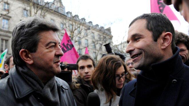 Jean-Luc Mélenchon et Benoît Hamon en 2010 © Reuters