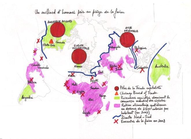 Un milliard d'hommes pris au piège de la faim, début du XXIe siècle. Données de la FAO. © Dimitris Fasfalis