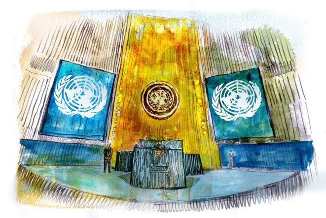 La salle de l'assemblée générale des Nations unies, à New York. © Illustration Damien Roudeau.